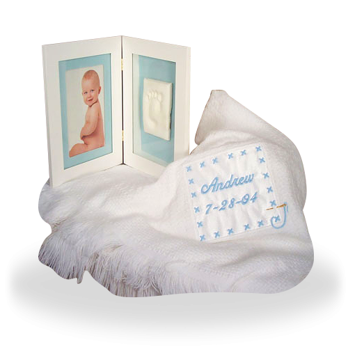 Blanket and a Keepsake Frame for a Baby Boy Personalized