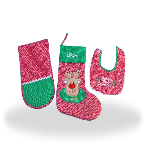 Christmas Stocking Personalized Baby Gift Set