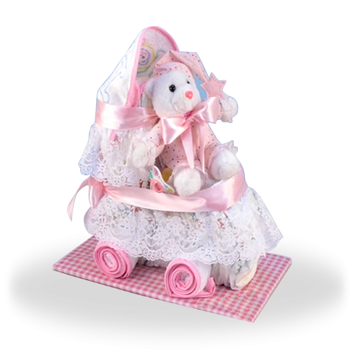 Diaper Cake Baby Carriage Gift Set for Girl