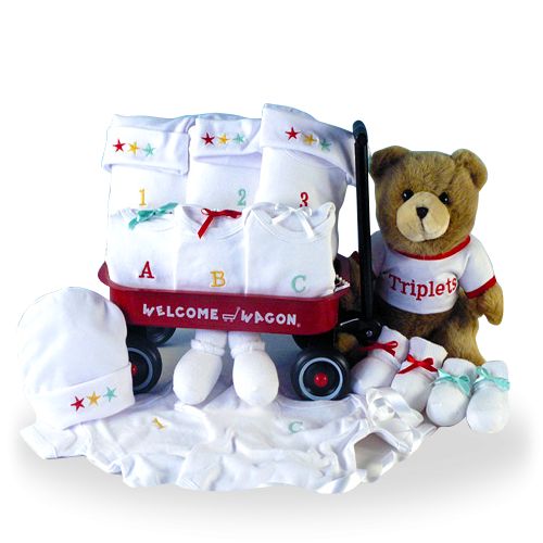 1, 2, 3 Triplets Welcome Wagon Baby Gift Set