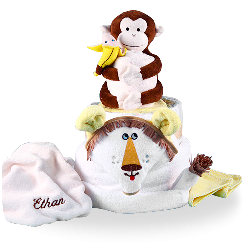Plush Lion and Monkey Diaper Cake Baby Gift Personalized