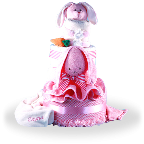 Cute Pink Rabbit Deluxe Diaper Cake with Blanket for Girl