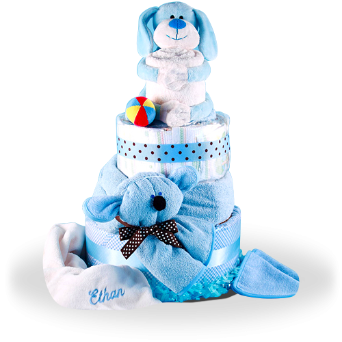 Puppy is the Best Friend for a Boy Deluxe Diaper Cake