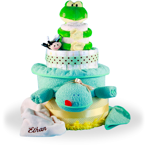 Plush Friends Frog and Turtle Diaper Cake Baby Gift