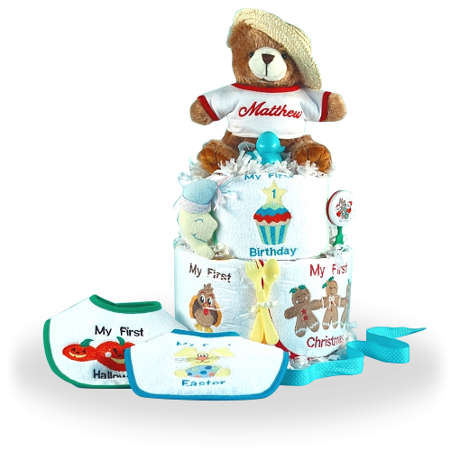 Their Very First Holiday Personalized Diaper Cake Neutral Baby Gift
