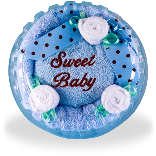 Sweet Baby Celebration Hooded Towel Cake Gift for Boy