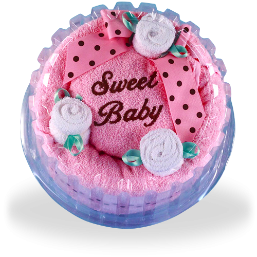 Sweet Baby Celebration Hooded Towel Cake Gift for Girl