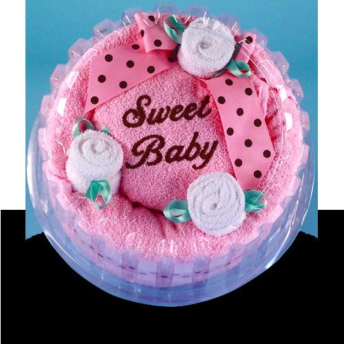 Sweet Baby Celebration Hooded Towel Cake Gift for Girl
