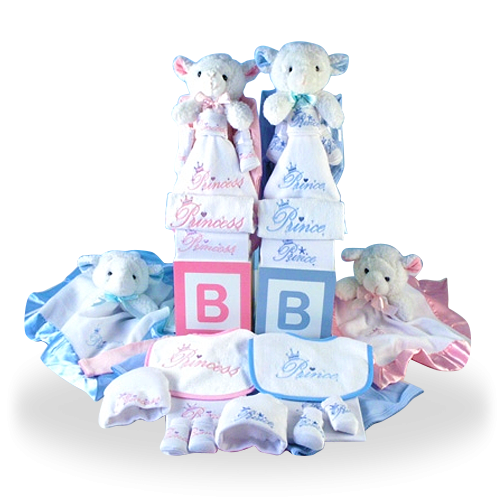 Purely Cotton Gift Basket for Twins with Cuddly Lambs