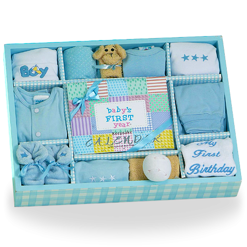 First Year Baby Boy Gift Set Personalized