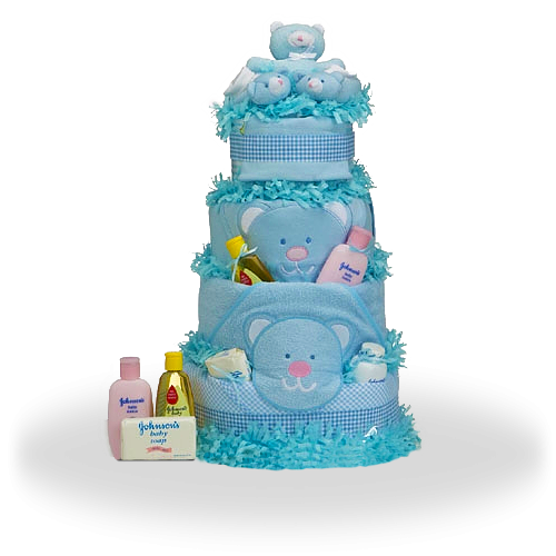 Teddy Bear Diaper Cake Gift for Baby Boy