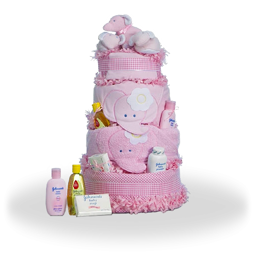 Sweety Pie Elephant Diaper Cake Gift for Baby Girl