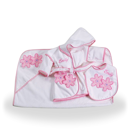For Your Little Daisy Bath and Bib Gift Set for Baby Girl