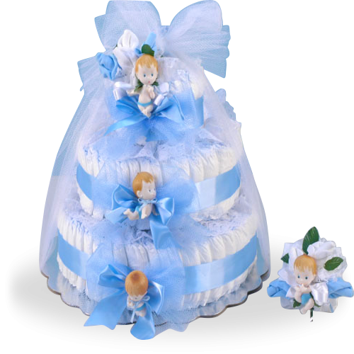 Delightful Baby Boy Diaper Cake Gift Set