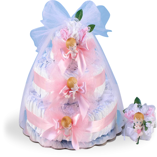 Delightful Baby Girl Diaper Cake Gift Set