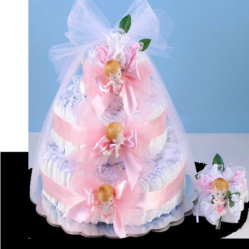 Delightful Baby Girl Diaper Cake Gift Set