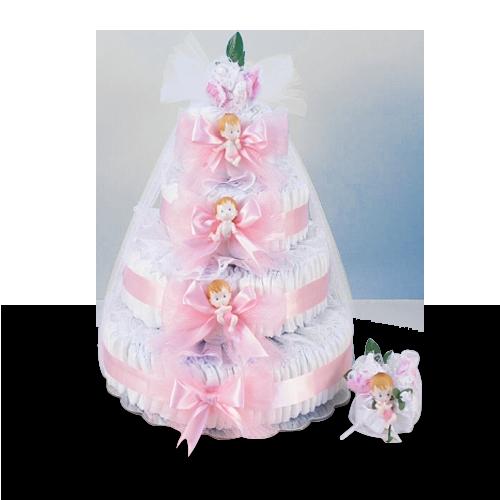 Deluxe Baby Girl Diaper Cake Gift