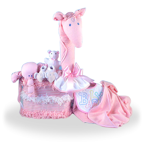 Pink Giraffe Diaper Cake Creation Gift Set for Girl
