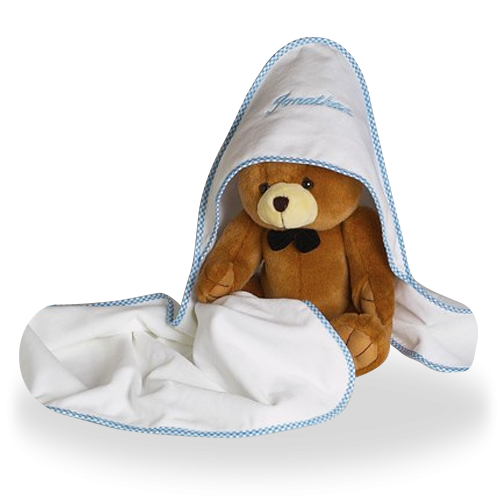 Hooded Towel and a Plush Bear for Baby Boy Personalized