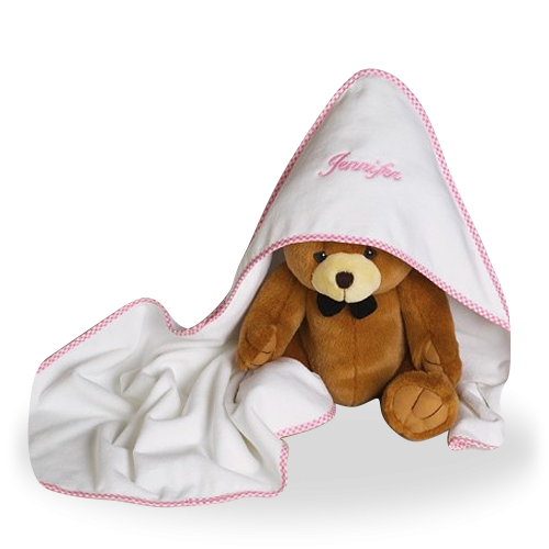 Hooded Towel and a Plush Bear for Baby Girl Personalized