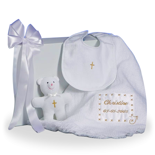 Pesonalized Christening Baby Blanket Gift Set