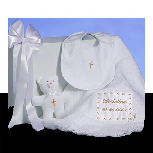 Pesonalized Christening Baby Blanket Gift Set