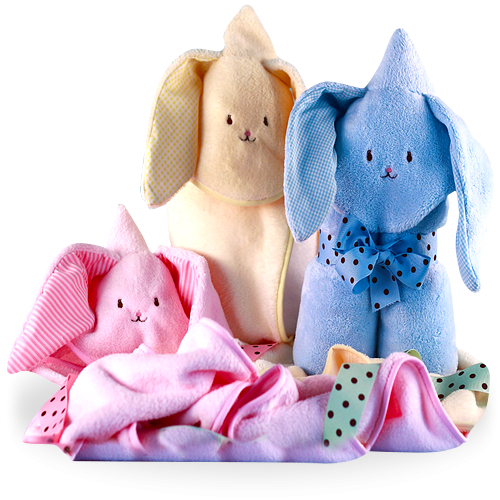 Hooded Bunny Baby Blanket Pink, Blue or Yellow