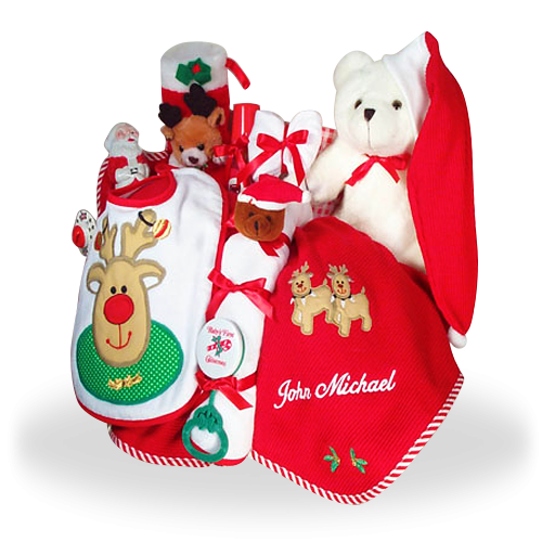 Merry Christmas Personalized Baby Gift Basket
