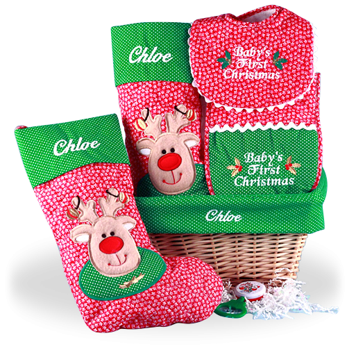 It's Christmas Time Personalized Baby Gift Basket