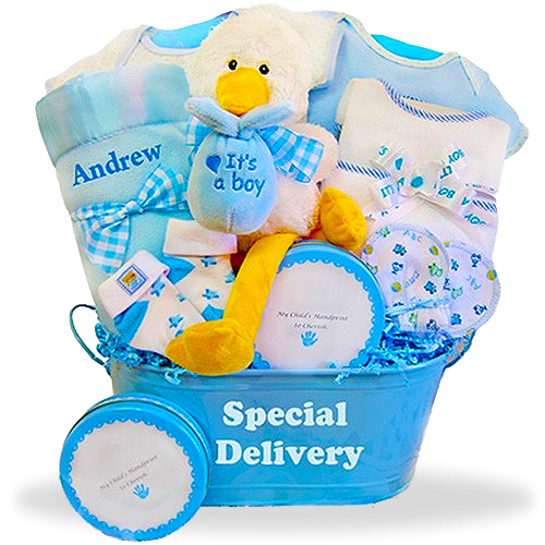 "Goodies for the Little plush stork  ""It's a Boy!"