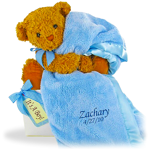 Baby Boy Bear's Favorite Personalized Blanket Gift Set