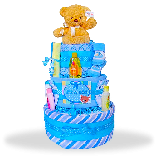 "Gund Bear's Three Layers of Fun Diaper Cake ""It's A Boy"""