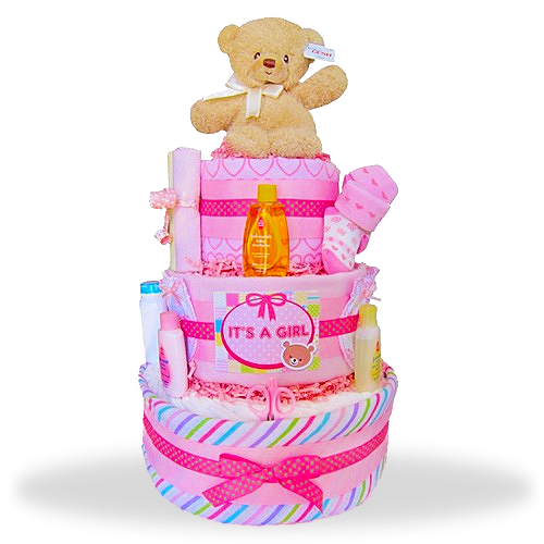 "Gund Bear's Three Layers of Fun Diaper Cake ""It's A Girl"""