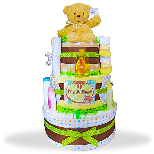 Gund Bear's Three Layers of Fun Diaper Cake/Neutral