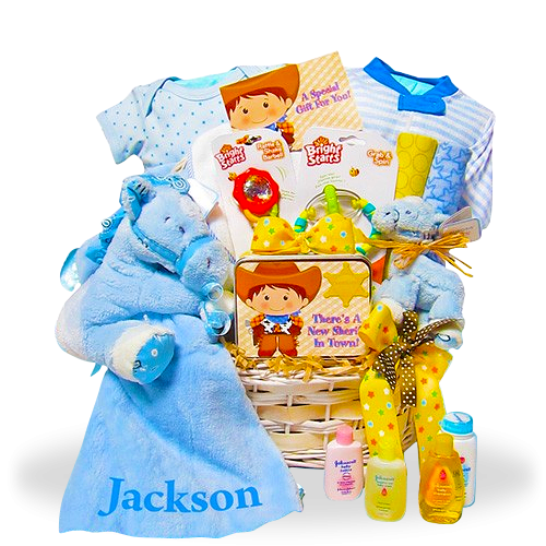 NewBorn Boy Cowboy's Personalized Gift Basket