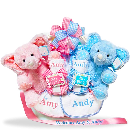 Send new baby gift baskets newborn baby baskets for boys and love times two personalized twin gift basket negle Choice Image