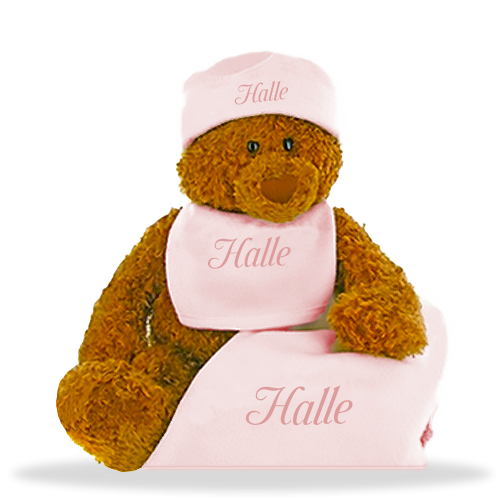 Girl's Betzy Gund Bear  with Personalized Fleece Blanket, Bib and Hat