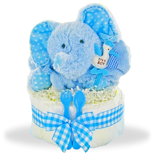 Smiling Elephant's One Tier Diaper Cake/Boy