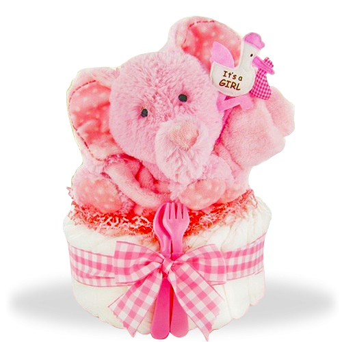 Smiling Elephant's One Tier Diaper Cake/Girl