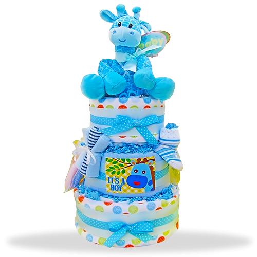 Baby Boy Bonanza three-tiered diaper cake!