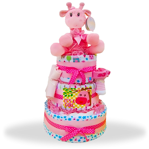 Baby Girl Bonanza three-tiered diaper cake!