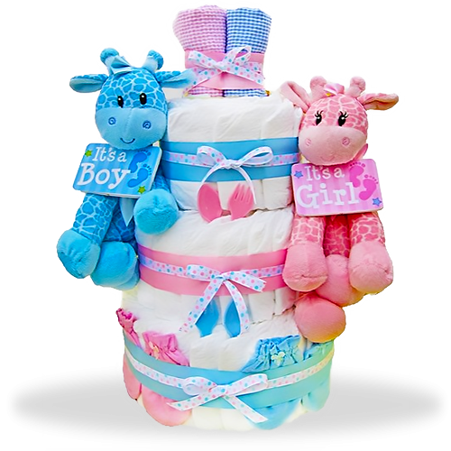 The Perfect Balance Three-Tiered Diaper Cake for Twins!