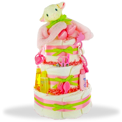 Lil Lamb's Sweet & Clean 3-Tiered Diaper Cake for Girls