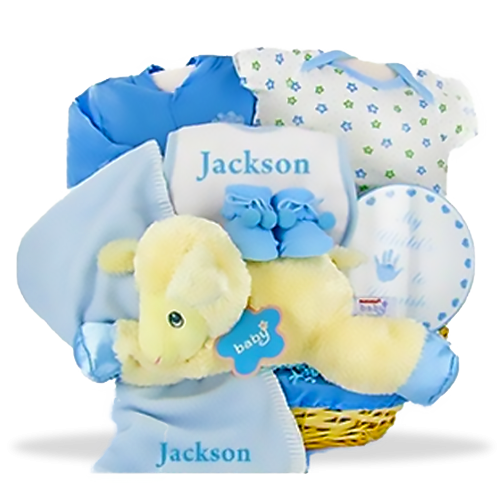 Send new baby gift baskets newborn baby baskets for boys and love my lambkins boy personalized gift set negle Choice Image