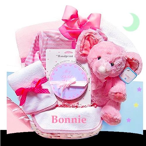Pink Minky Elephant Soft Gift Basket