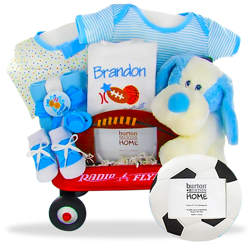 The Boy mini Wagon Sport Personalized Gift Basket