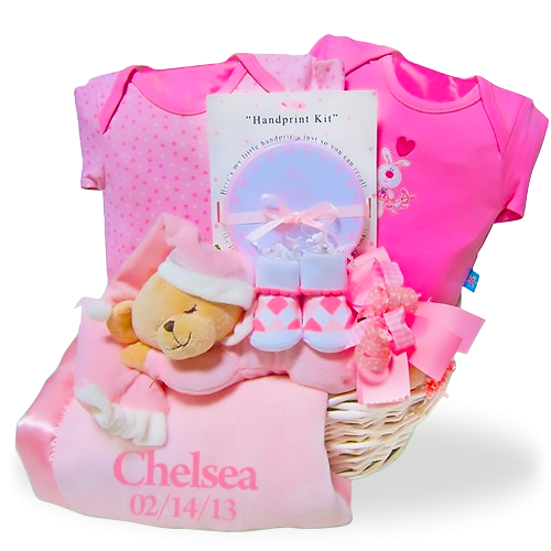 Personalized Bedtime Bear Gift Basket with Blanket  for Girl