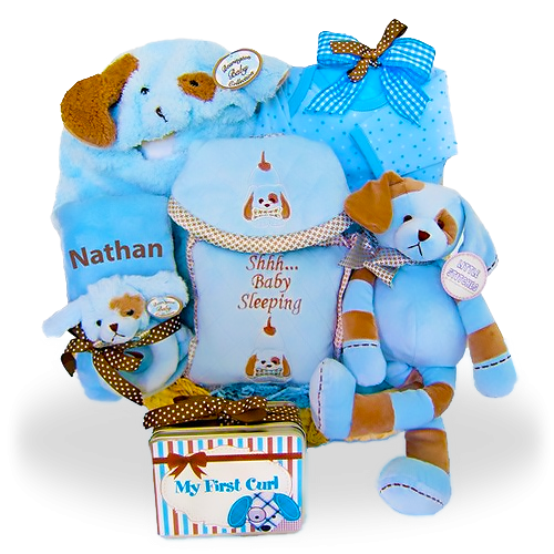 Blue and Brown Personalized Puppy Pack