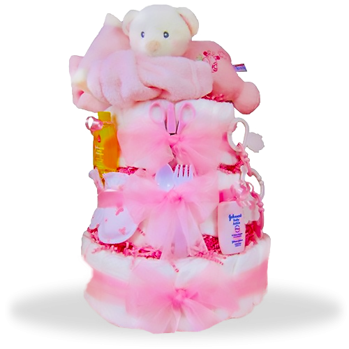 Sleepy Stack 3-Tiered Diaper Cake/ Girl
