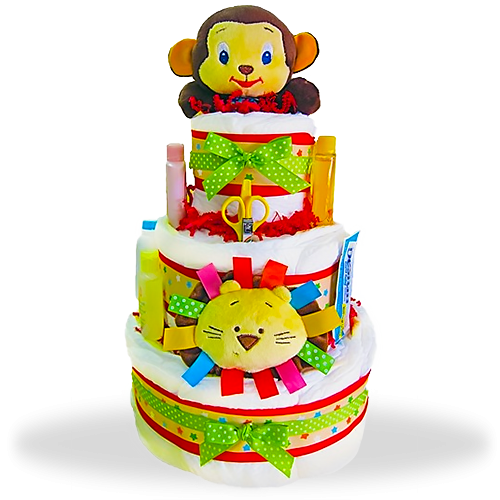 Jungle Jamboree 3-Tiered Diaper Cake